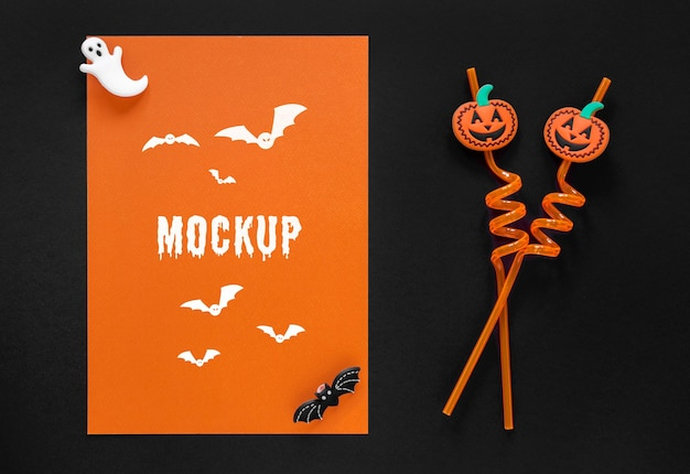Mock-up di halloween con cannucce di zucca carina