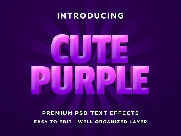 Cute purple - 3d text style шрифтовые эффекты psd шаблоны