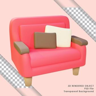 透明な背景を持つかわいい赤いソファの3dレンダリング