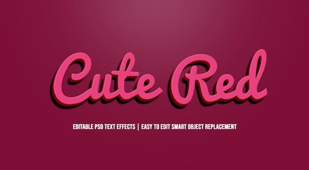 Симпатичный красный в текстовых эффектах