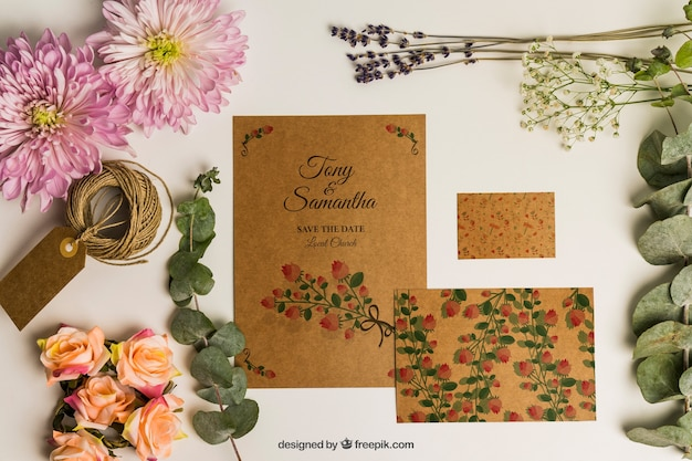 Cute romantic stationery wedding mockup