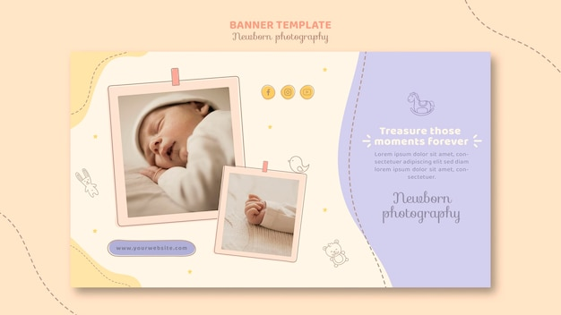 Cute sleeping baby banner template