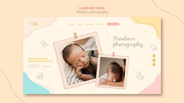 Cute sleeping baby landing page template