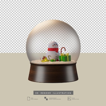 かわいいスノードームのクリスマスのテーマ3dイラスト