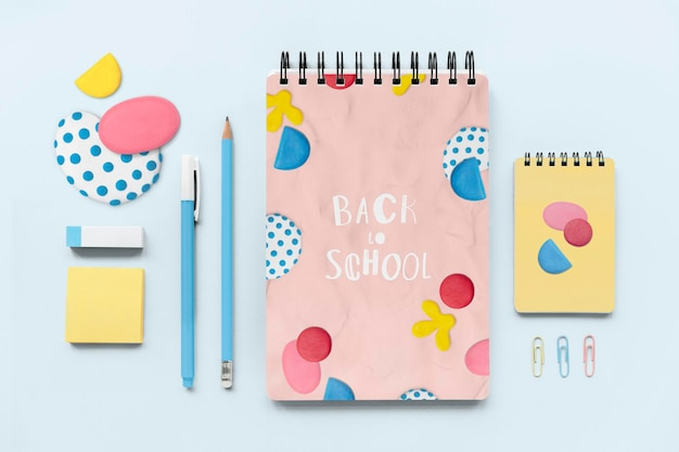 Cute stationery set mockup psd in abstract plasticine clay pattern