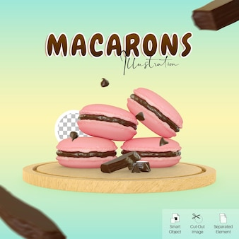 Cute style of macarons on cutting board 3d illustration with chocolate bar for social media element