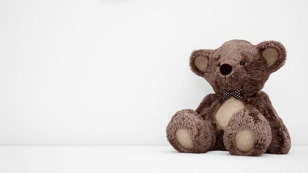 Cute teddy bear with white copyspace