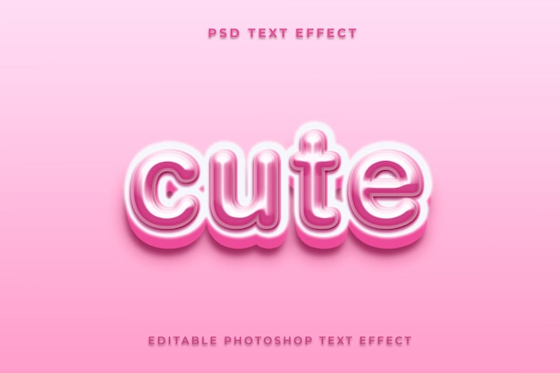Cute text effect template with pink color