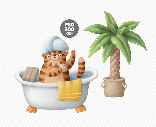 Милый тигр персонаж принимает ванну рисованной изолированные