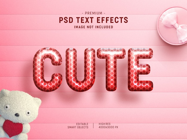 Cute valentine balloon text effect template