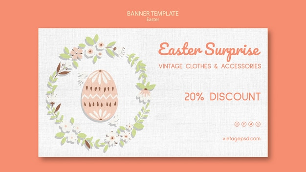 Cute vintage easter banner template