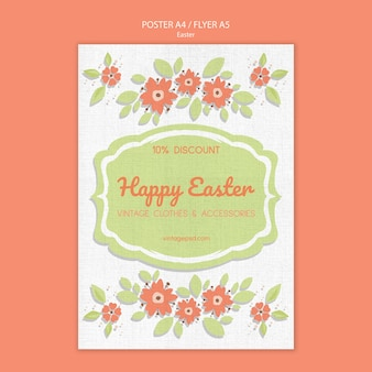 Cute vintage easter poster template