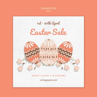 Cute vintage easter square flyer