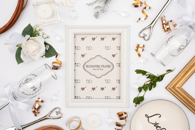 Cute wedding invitation frame with mock-up