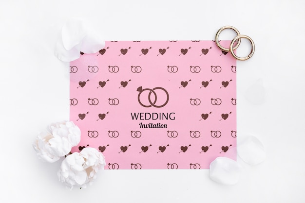 Cute wedding invitation with rings