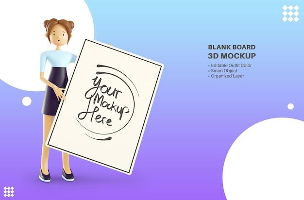空白のホワイトボード3dレンダリングモックアップを保持しているかわいい女性キャラクター