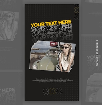 Cutted paper instagram story banner template with text effect
