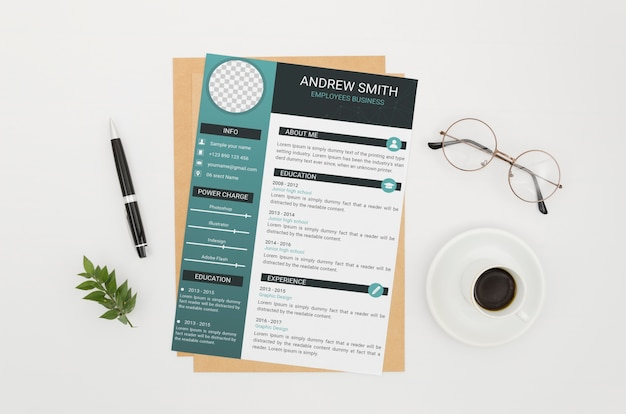 Cv mock-up on white background