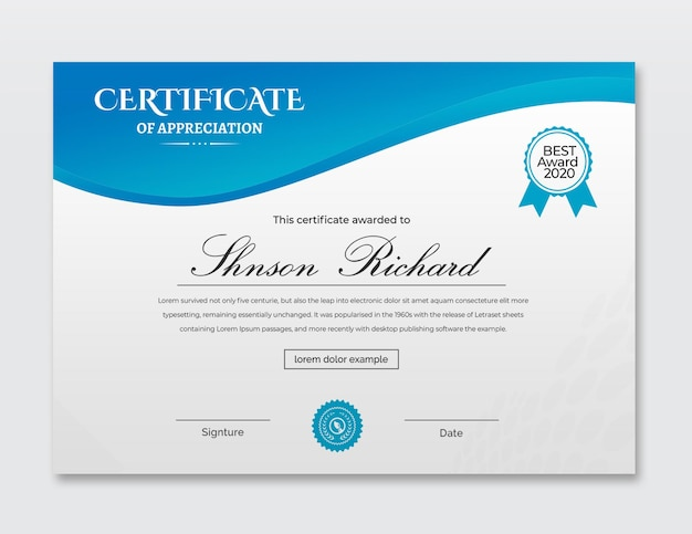 Cyan certificate of achievement template design