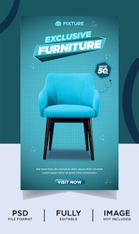 Cyan color exclusive furniture brand product instagram post banner