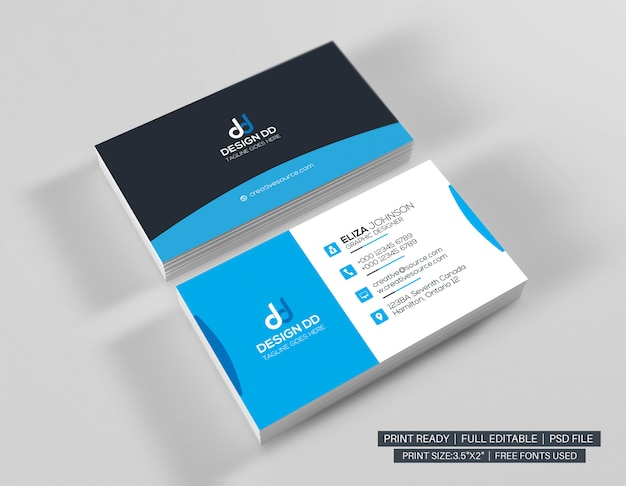 Cyan modern visiting card template