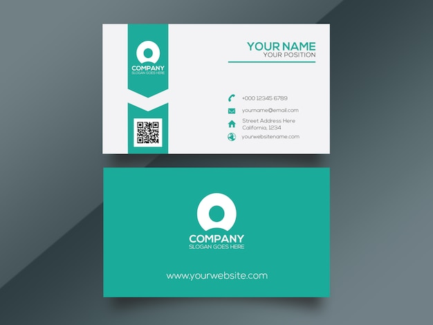 Cyan simple corporate business card