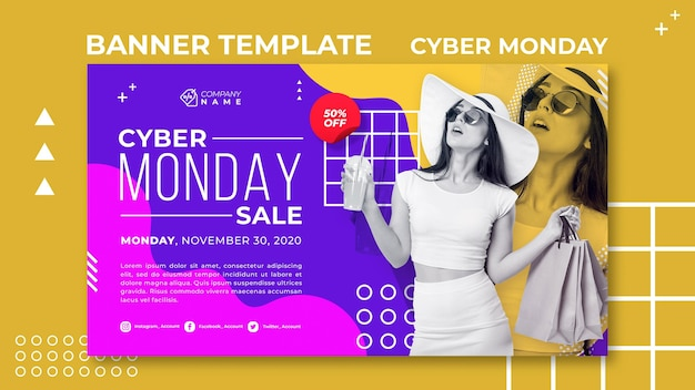 Cyber monday ad template banner