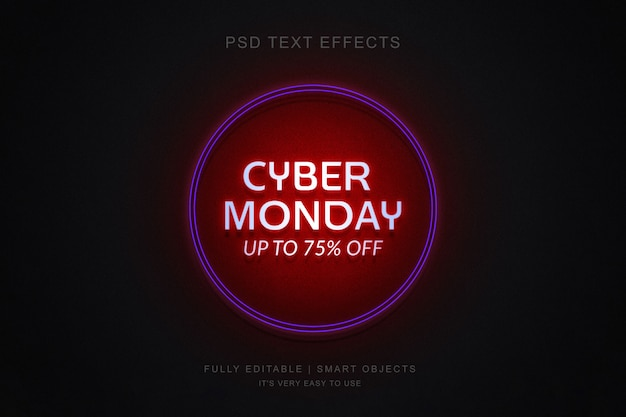 Cyber monday banner and photoshop neon text effect