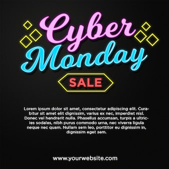 Cyber monday banner sale in neon style text effect