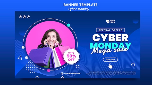 Cyber monday banner template with photo