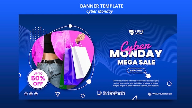Cyber monday banner with photo
