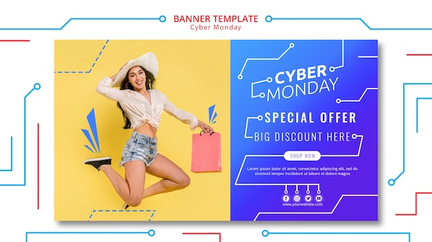 Cyber monday circuit banner template