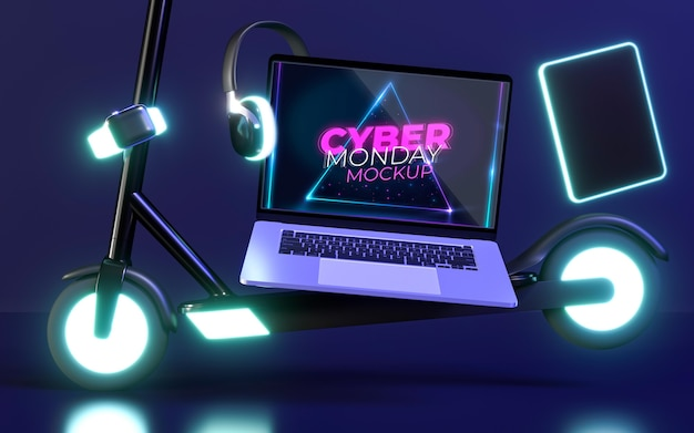 Cyber monday composition with laptop mock-up