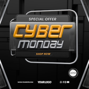 Cyber monday concept in 3d render design for general stores