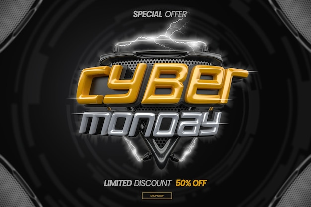 Cyber monday concept in 3d render design