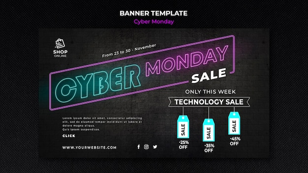 Cyber monday concept banner template