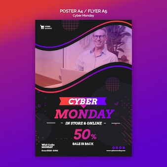 Cyber mondayconcept flyer template