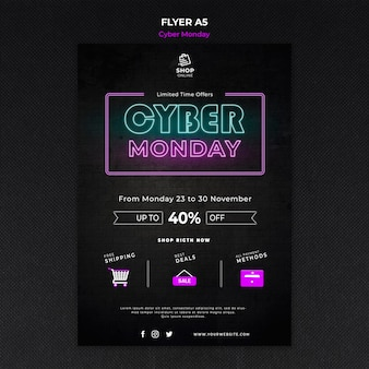 Cyber monday concept flyer template