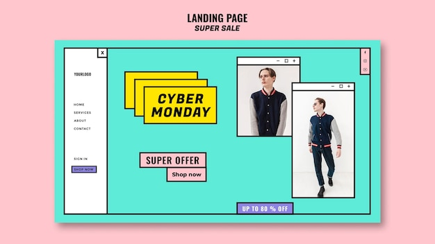 Cyber monday concept landing page template