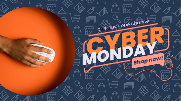 Cyber monday concept mock-up with mouse