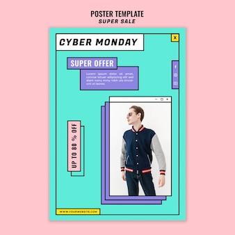 Modello di manifesto del concetto di cyber lunedì