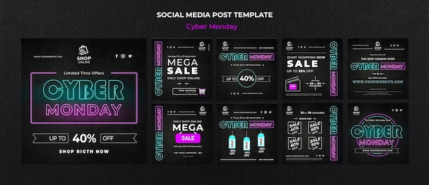 Cyber monday concept social media post template