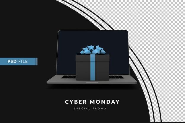 Концепция киберпонедельника с компьютером и подарочной коробкой