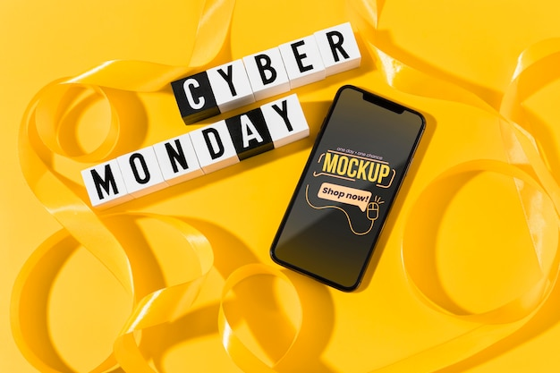 Cyber monday concept with mock-up