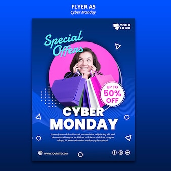 Cyber monday flyer template with photo
