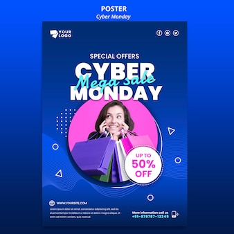 Cyber monday poster template with photo