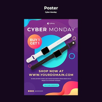 Modello di poster di cyber lunedì