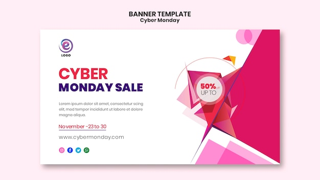 Cyber monday realistic banner template