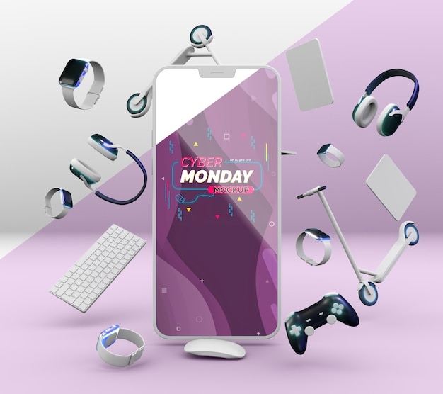 Cyber monday sale arrangement with mobile phone mock-up
