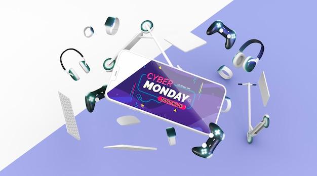 電話のモックアップによるサイバー月曜日の販売手配